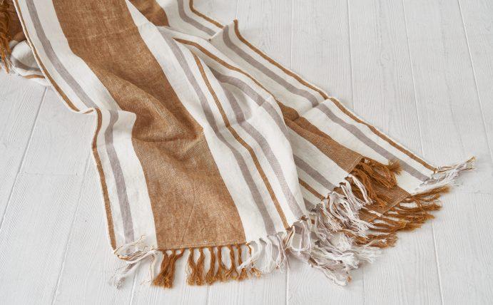 Draugiškas lininis rankšluostis-pledas